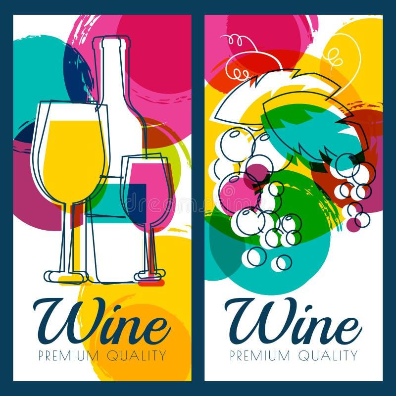 Vector a ilustração da garrafa de vinho, do vidro, do ramo da uva e do c ilustração stock