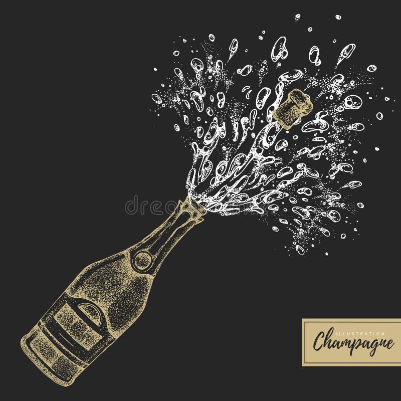 Vector a ilustração da garrafa do champanhe do desenho da mão com respingo ilustração royalty free