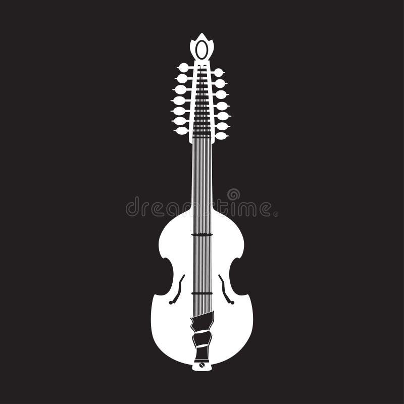 Vector a ilustração da guitarra branca da viola, estilo liso ilustração do vetor