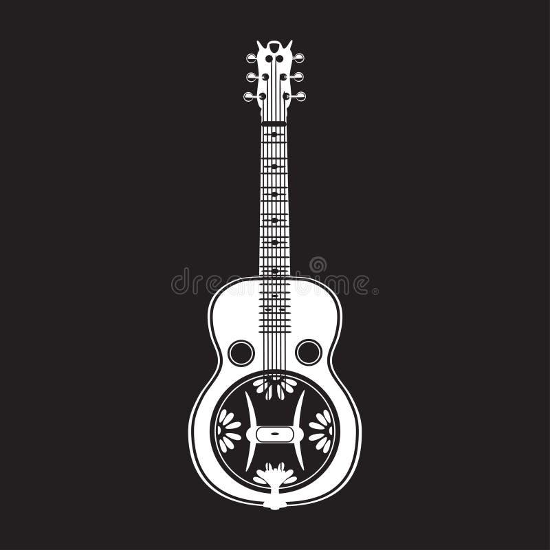 Vector a ilustração da guitarra branca do ressonador no estilo liso ilustração royalty free
