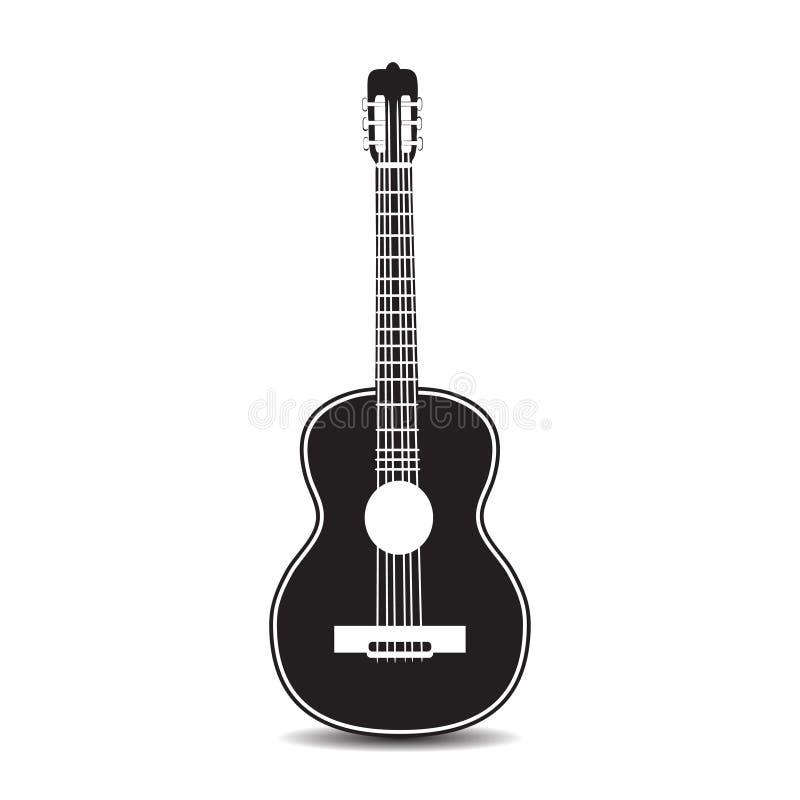 Vector a ilustração da guitarra clássica no estilo liso ilustração stock