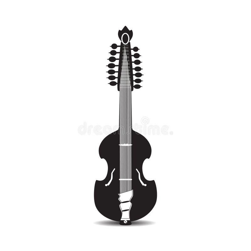 Vector a ilustração da guitarra preto e branco da viola, estilo liso ilustração royalty free