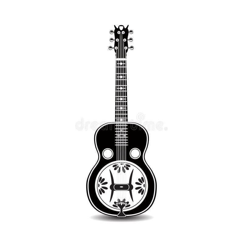 Vector a ilustração da guitarra preto e branco do ressonador isolada em um fundo branco ilustração royalty free