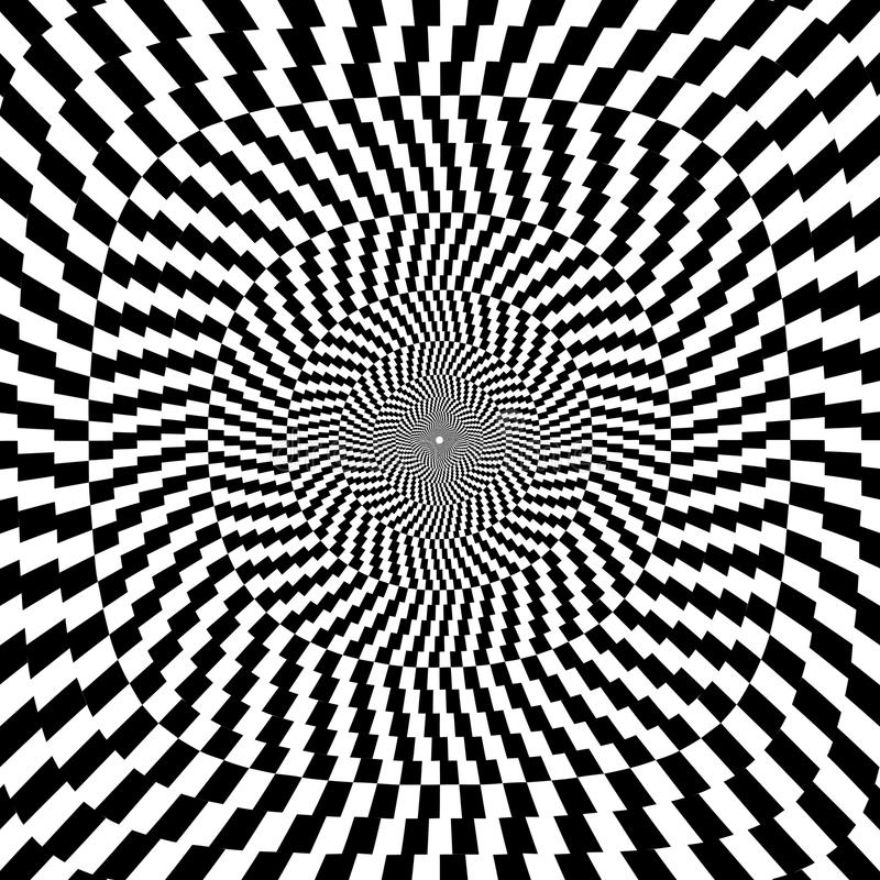 Ilustração do vetor do fundo preto e branco da ilusão óptica ilustração stock