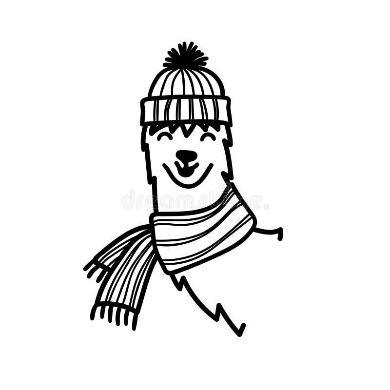 Vector a ilustração da Lama bonito de Ámérica do Sul do caráter no chapéu e no lenço do inverno ilustração do vetor