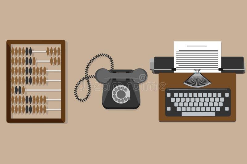 Vector a ilustração da máquina de escrever lisa do vintage, ábaco de madeira velho, telefone velho ilustração do vetor
