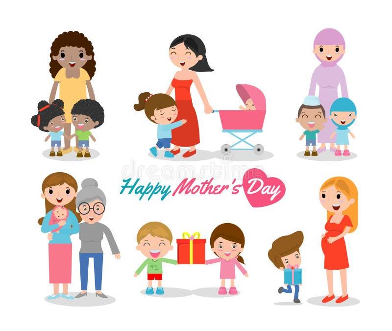 Vector a ilustração da mãe e da criança no fundo branco, o dia de mães feliz, mulheres bonitas e criança, mães felizes ilustração stock