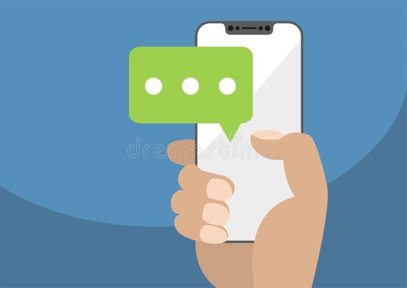 Vector a ilustração da mão que guarda smartphone moderno moldura-livre/frameless com ícone do bate-papo para simbolizar a convers ilustração stock