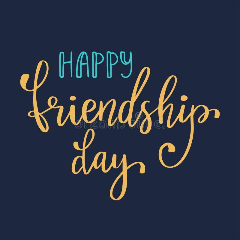 Vector a ilustração da mão tirada rotulando o dia feliz da amizade do texto Cartão do feriado ilustração do vetor
