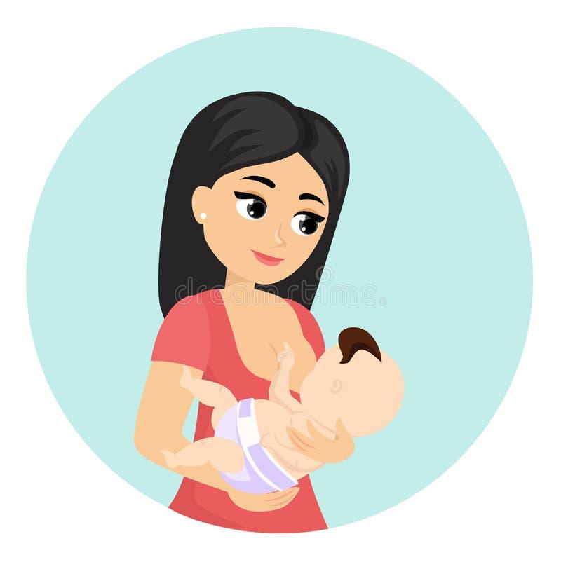 Vector a ilustração da mamã que alimenta seu bebê, amamentando Caráteres coloridos bonitos da mãe nova com bebê dentro ilustração royalty free