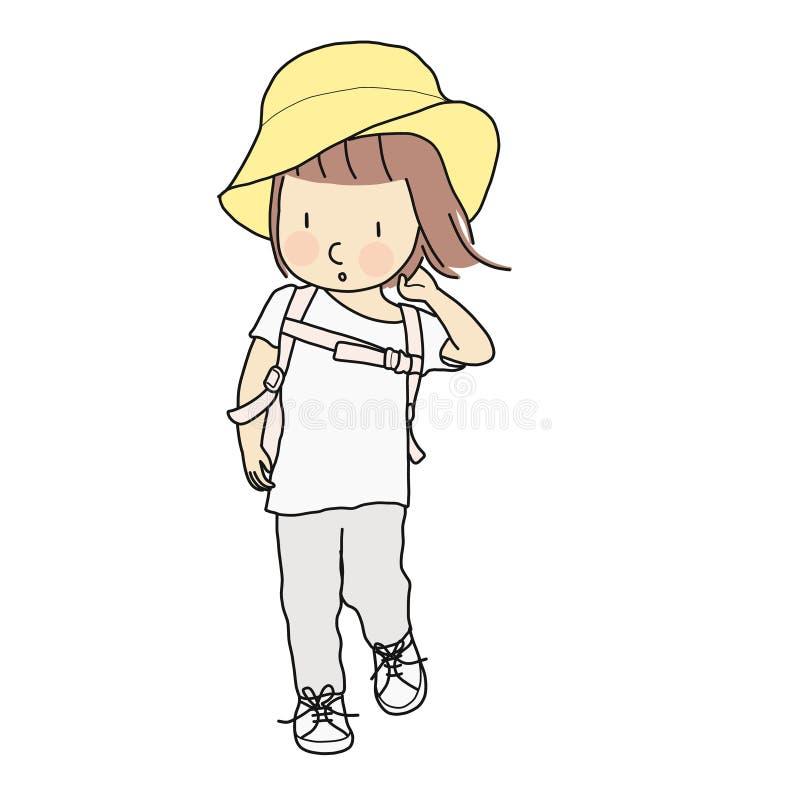 Vector a ilustração da menina da criança que anda com trouxa da escola e o chapéu amarelo Desenvolvimento infantil, conceito do c ilustração stock