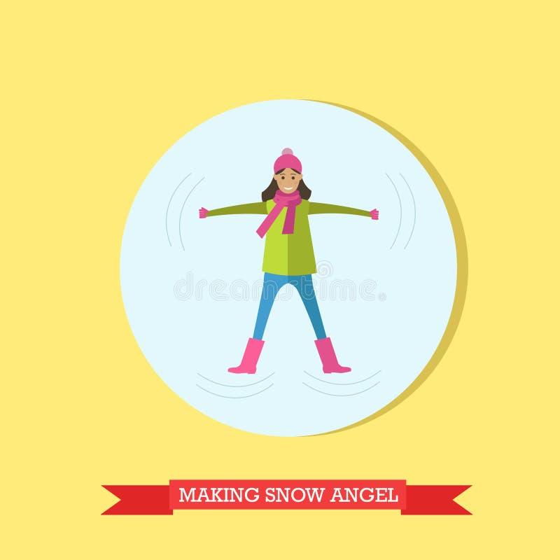 Vector a ilustração da menina que faz o anjo da neve no projeto liso ilustração stock