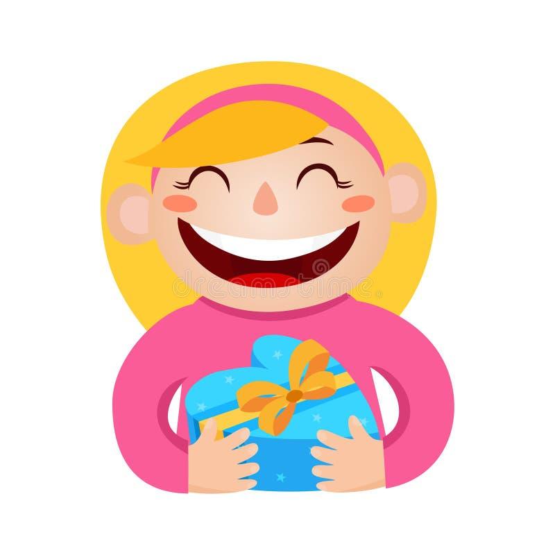 Vector a ilustração da menina que guarda um presente na coração-caixa envolvida ilustração royalty free