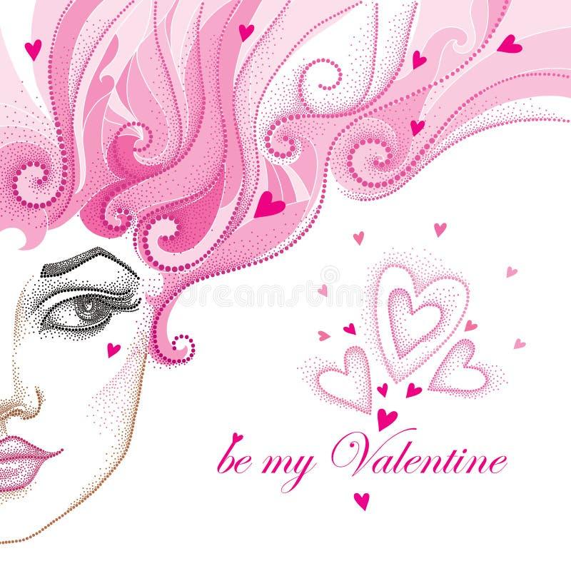 Vector a ilustração da metade da cara bonita pontilhada da menina com os corações e o cabelo encaracolado cor-de-rosa isolados no ilustração do vetor