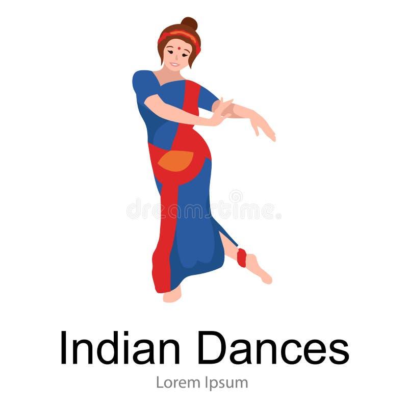 Vector a ilustração da mulher que executa a dança clássica de Kathak da Índia do norte Menina tradicional indiana do dançarino, v ilustração stock