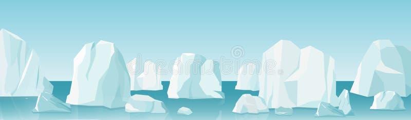 Vector a ilustração da paisagem ártica no estilo liso dos desenhos animados paisagem ártica do gelo do inverno da natureza com lo ilustração stock