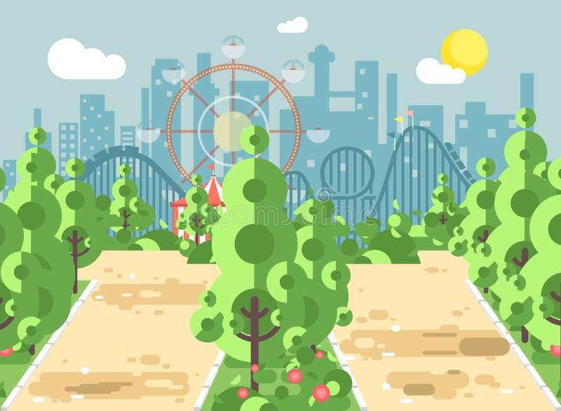Vector a ilustração da paisagem, da aleia, do pavimento, das árvores e dos arbustos da cena no parque de diversões exterior, mont ilustração stock