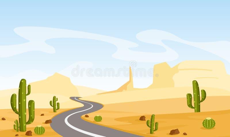 Vector a ilustração da paisagem do deserto com cactos e estrada asfaltada, no estilo liso dos desenhos animados ilustração do vetor