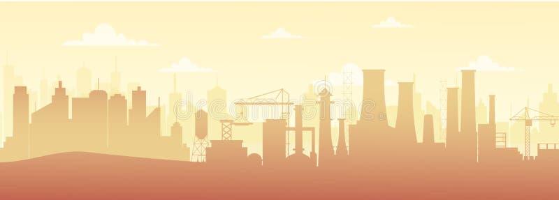 Vector a ilustração da paisagem industrial panorâmico da silhueta com construções da fábrica e da poluição no estilo liso ilustração royalty free
