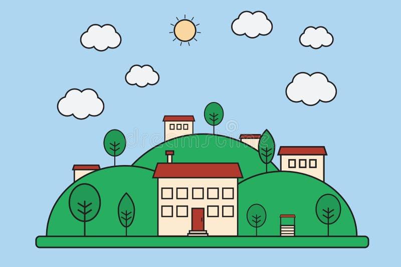 Vector a ilustração da paisagem lisa da vila da natureza com mounta ilustração royalty free