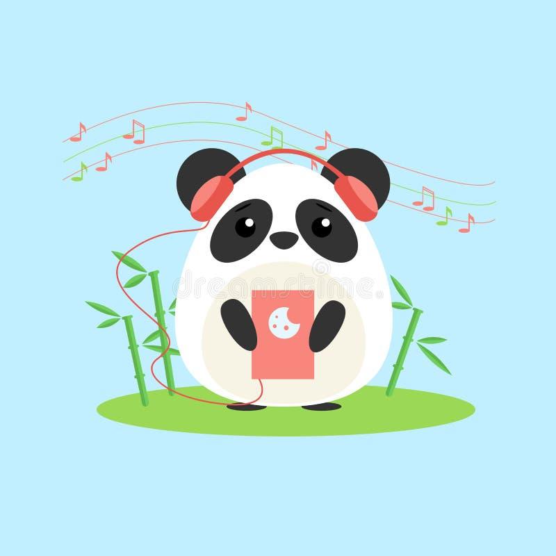 Vector a ilustração da panda antropomórfica que escuta a música do dispositivo ilustração stock