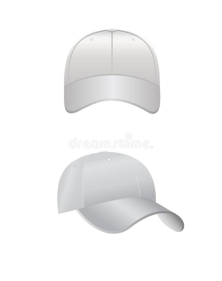 Vector a ilustração da parte dianteira traseira e do boné de beisebol branco da vista lateral isolado no fundo branco no estilo r ilustração do vetor