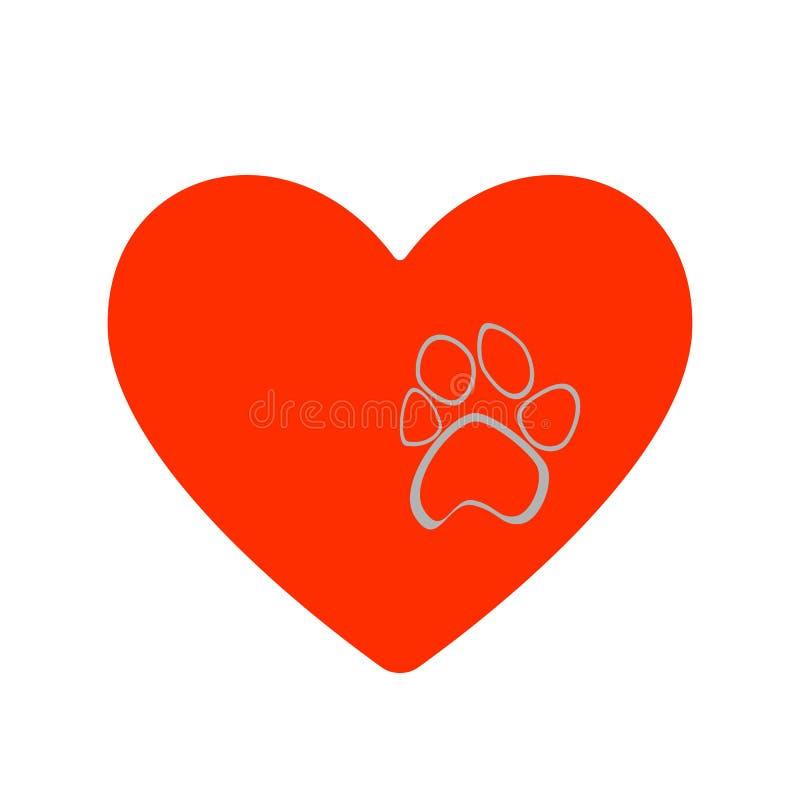 Vector a ilustração da pata cinzenta do animal selvagem da cópia em um estilo liso do coração vermelho ilustração royalty free