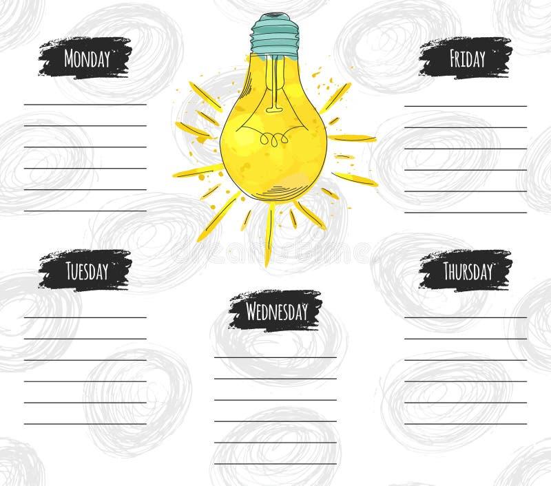 Vector a ilustração da programação de projeto colorida para a semana Pode ser usado como um cartaz, cartão, convite, mater impres ilustração stock