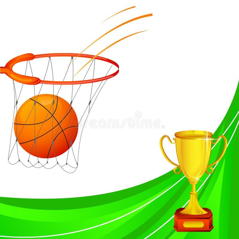 Basquetebol com troféu ilustração do vetor