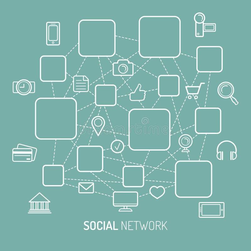 Vector a ilustração da rede social, da conexão a Internet, de ícones sociais dos meios e de lugares para ícones dos homens no est ilustração stock