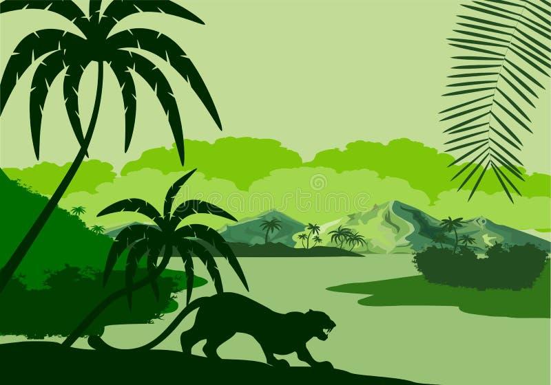 Vector a ilustração da silhueta do lago tropical com montanhas, árvores e silhuetas dos leopardos no pantanal da floresta úmida d ilustração royalty free
