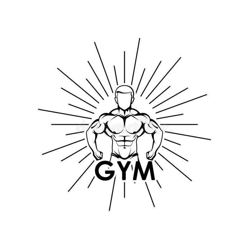 Vector a ilustração da silhueta muscled do corpo do homem e estoure o fi ilustração do vetor
