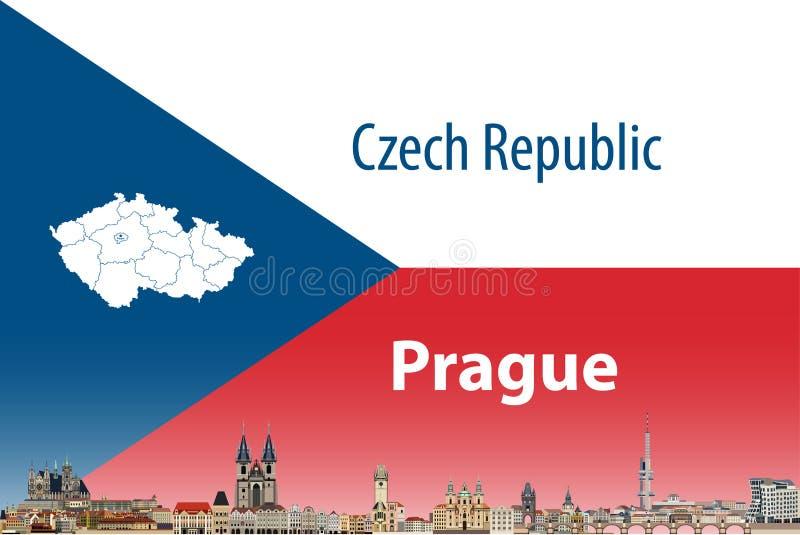 Vector a ilustração da skyline da cidade de Praga com bandeira e o mapa de República Checa no fundo ilustração stock