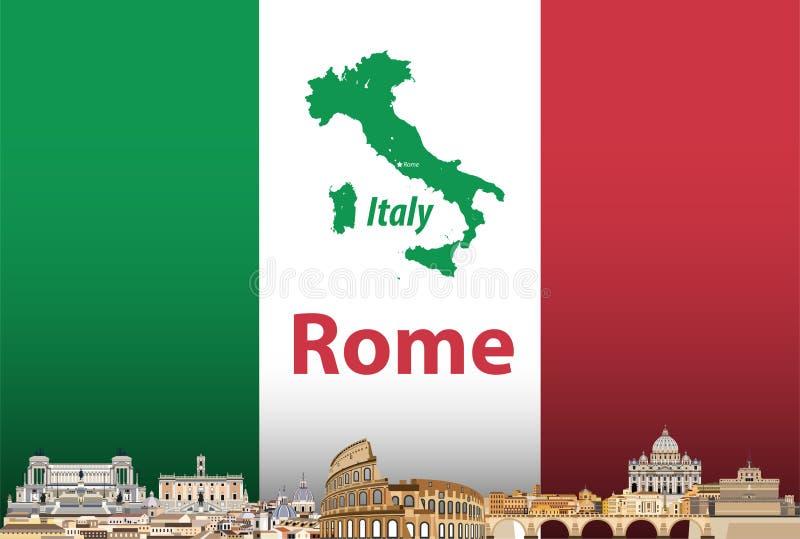 Vector a ilustração da skyline da cidade de Roma com bandeira e o mapa de Itália no fundo ilustração stock