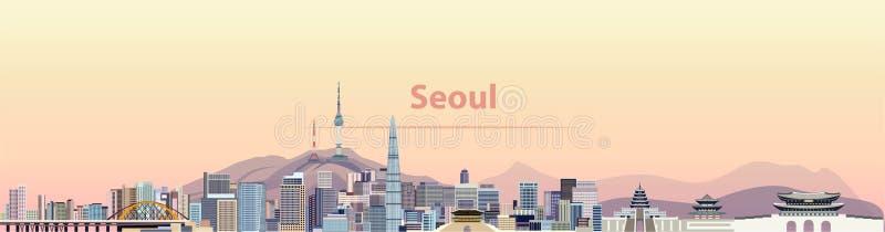 Vector a ilustração da skyline da cidade de Seoul no nascer do sol ilustração stock