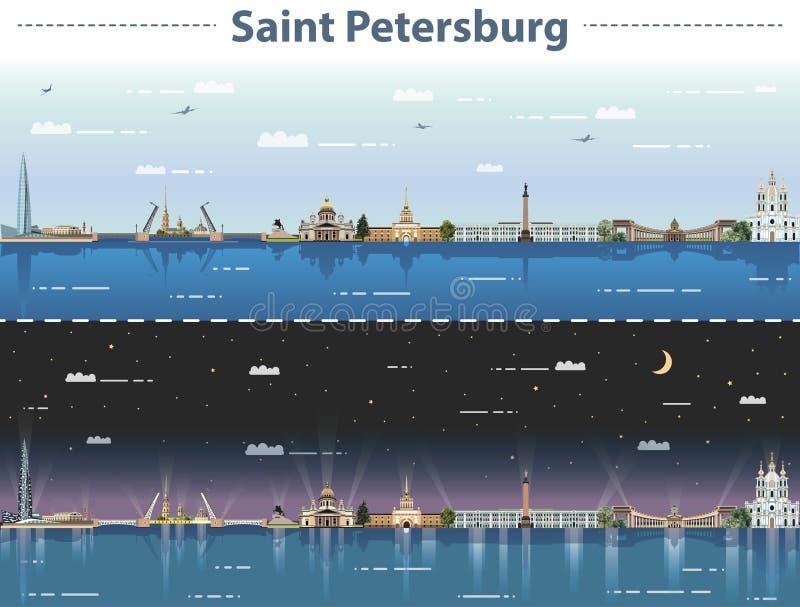 Vector a ilustração da skyline da cidade de St Petersburg em dia e noite ilustração stock