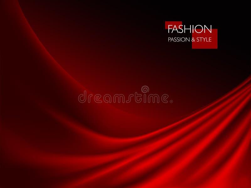 Vector a ilustração da textura vermelha luxuosa elegante lisa da seda ou do cetim ilustração do vetor