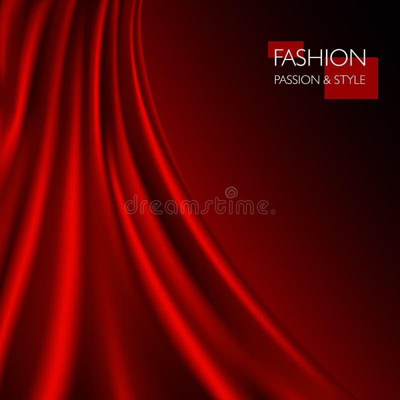 Vector a ilustração da textura vermelha luxuosa elegante lisa da seda ou do cetim ilustração stock