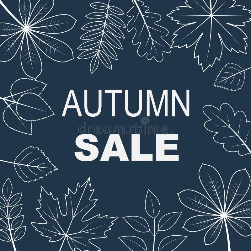 Vector a ilustração da venda do outono com a silhueta das folhas no fundo ilustração royalty free