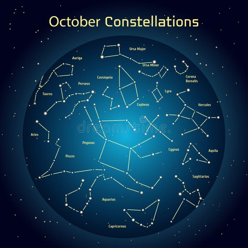 Vector a ilustração das constelações o céu noturno em outubro Incandescendo uma obscuridade - o círculo azul com protagoniza no e ilustração do vetor