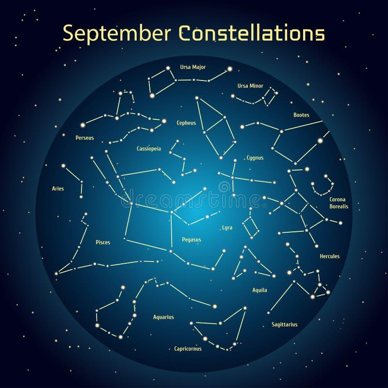 Vector a ilustração das constelações o céu noturno em setembro Incandescendo uma obscuridade - o círculo azul com protagoniza no  ilustração do vetor