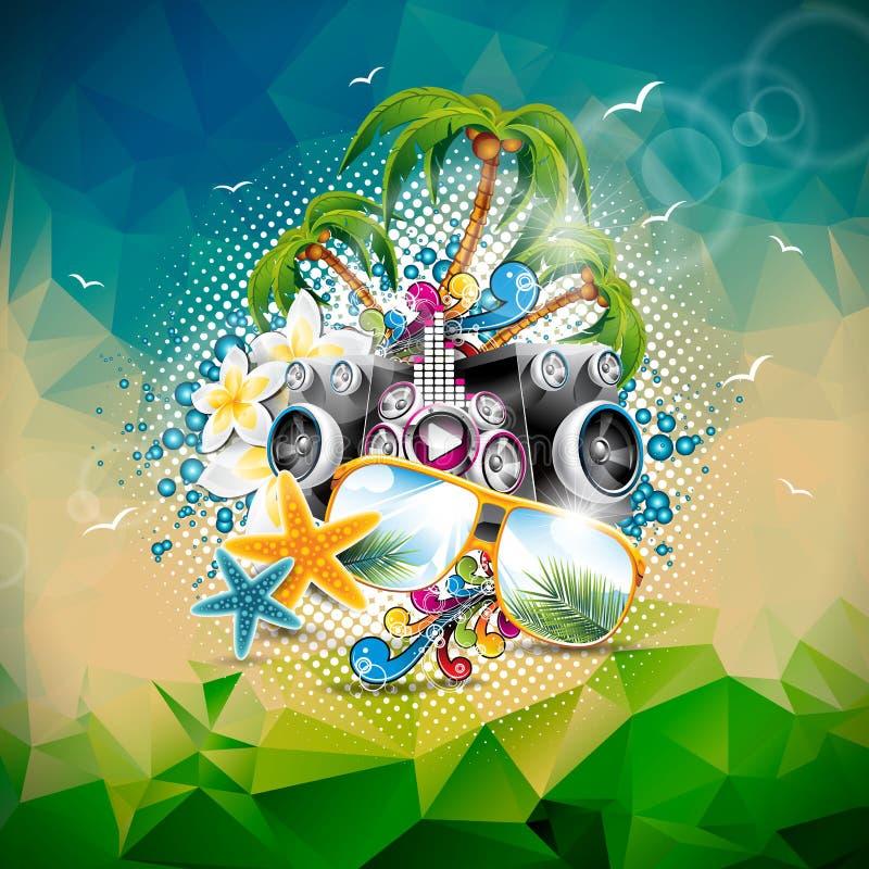 Vector a ilustração das férias de verão em um tema da música e do partido com oradores e óculos de sol no fundo abstrato do triân ilustração do vetor