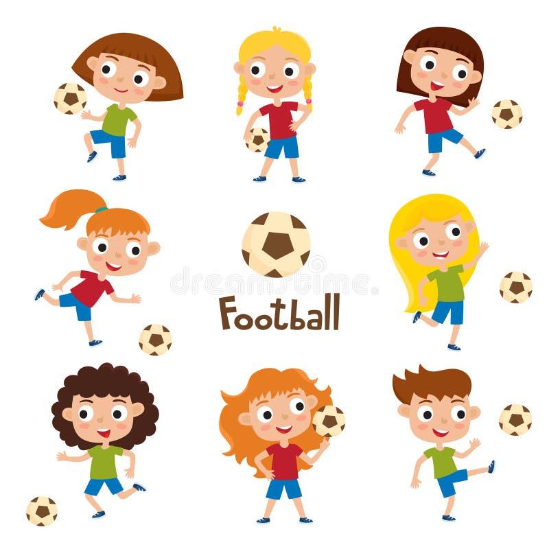 Vector a ilustração das meninas na camisa e no futebol de jogo curto ilustração do vetor
