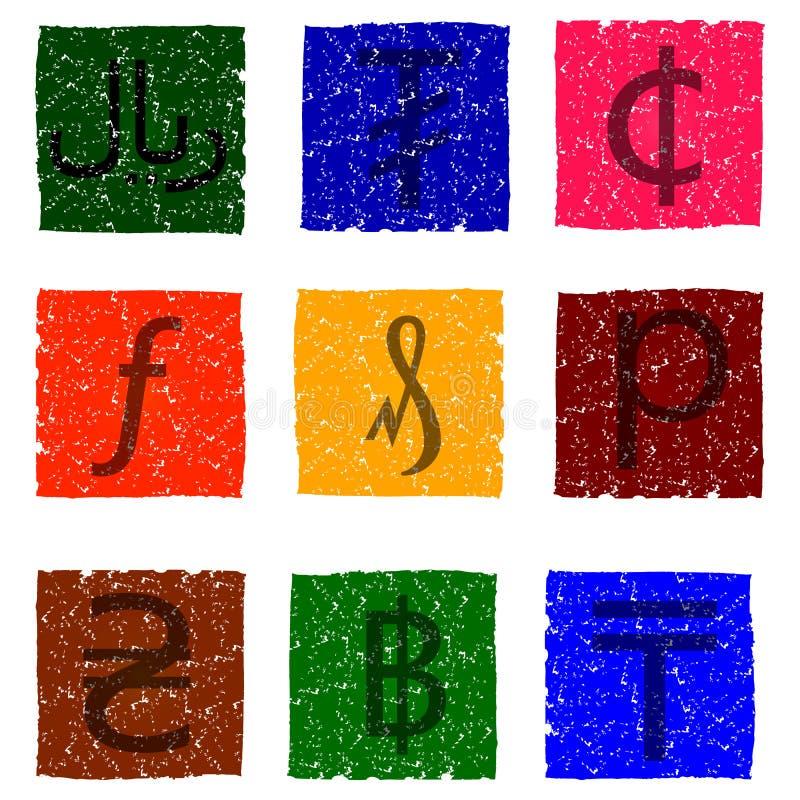 Vector a ilustração de ícones coloridos do grunge com símbolos de várias unidades monetárias - hryvnia, moeda de um centavo, cent ilustração royalty free