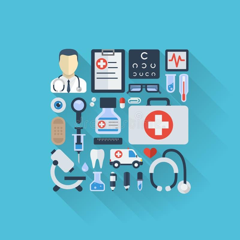 Vector a ilustração de ícones coloridos plano com sombras longas Fundo abstrato com médico, saúde da medicina ilustração royalty free