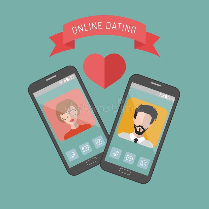 Vector a ilustração de ícones datando em linha do app do homem e da mulher no estilo liso ilustração stock
