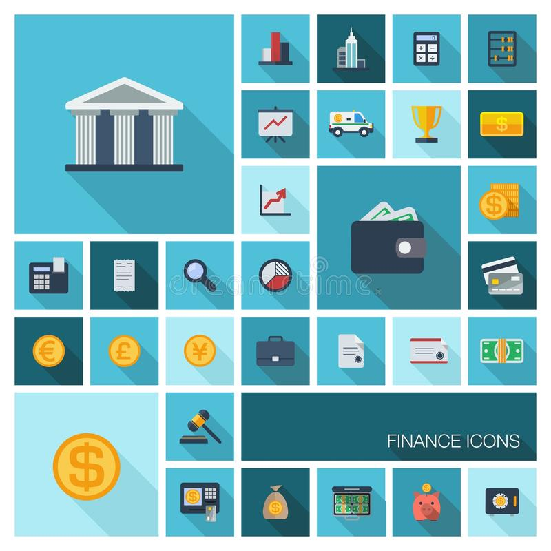 Vector a ilustração de ícones lisos da cor com sombra longa para a finança e a operação bancária ilustração royalty free