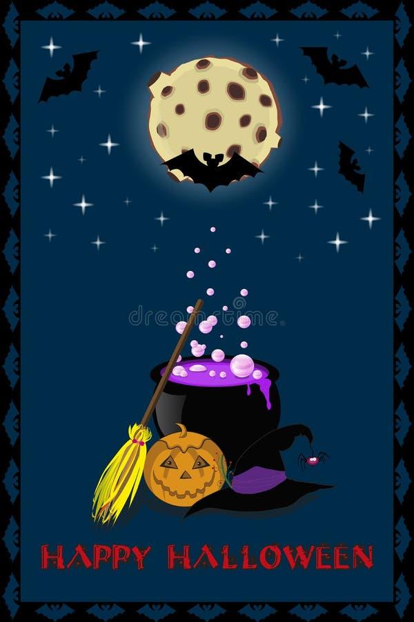 Vector a ilustração de acessórios da bruxa no fundo da Lua cheia ilustração do vetor