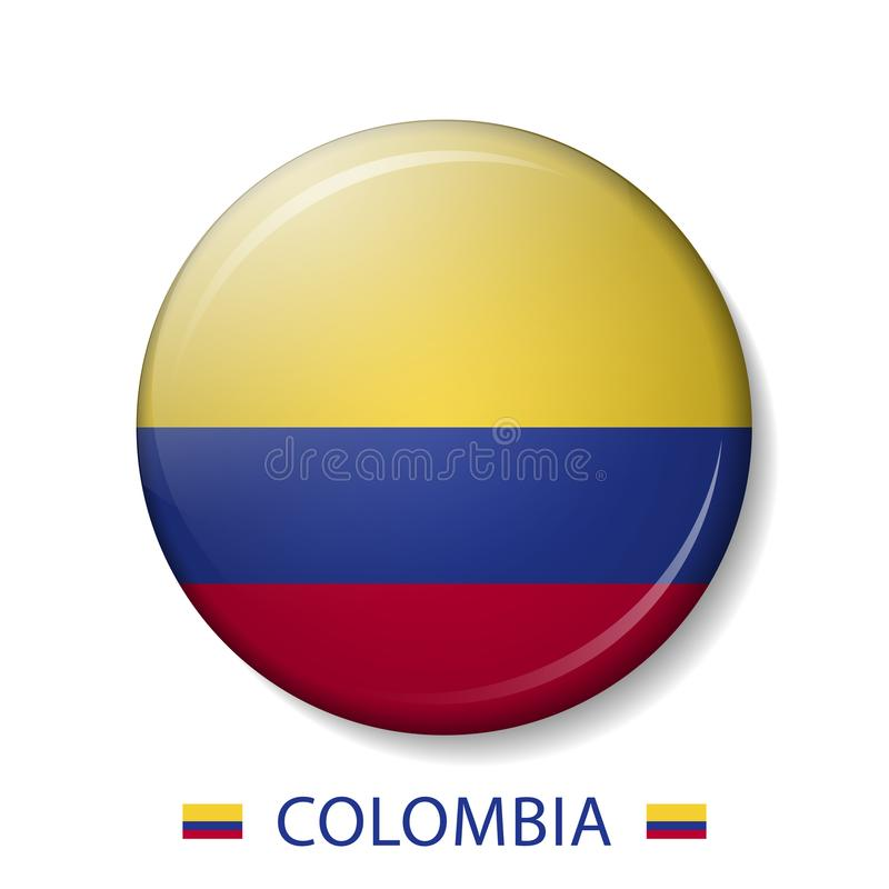 Vector a ilustração de botões da bandeira de COLÔMBIA, ícones redondos do vetor 3d ilustração royalty free