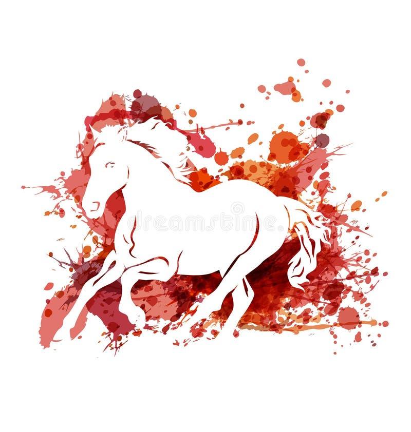 Vector a ilustração de cavalo running no fundo da aquarela ilustração stock